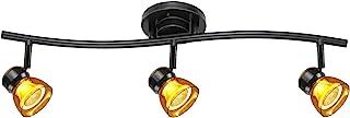直射照明 3 灯固定 LED 轨道照明套件深古铜色抛光透明黄色亚克力灯罩 A83L-DB-CLY(深古铜色/透明黄色)