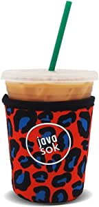 Java Sok 可重复使用冰咖啡杯绝缘套适用于冷饮和氯丁橡胶支架,适用于星巴克咖啡、麦当劳、邓肯甜圈、更多(现代猎豹,16-20 盎司小号)