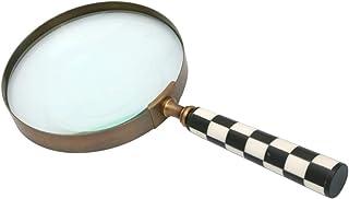 M S L 10.16 厘米复古黄铜黑白格子放大镜