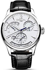 男式 Power Reserve 显示自动自动上链手表皮革表带豪华防水瑞士手表