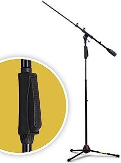 Hola!Music HPS-150TB 专业三脚架麦克风支架,带单手高度离合器和伸缩臂,黑色