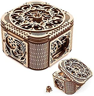 UGears Treasure Box 3D 木质拼图 - 成人自组装工艺套装,是女性礼品