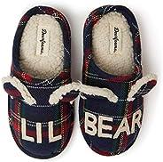 Dearfoams 兒童家庭系列兒童和學步小熊格子木底拖鞋