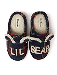 Dearfoams 儿童家庭系列儿童和学步小熊格子木底拖鞋