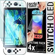 Orzly 玻璃屏幕保护膜,适用于 Nintendo Switch OLED 2021 控制台配件(4 件装) - 钢化玻璃寿命版