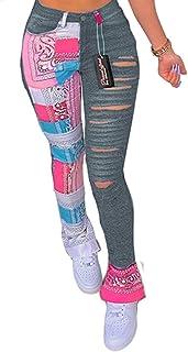 Choichic 女式休闲图腾印花拼接运动裤 弹性中腰工作紧身破洞裤