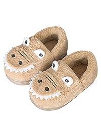 AngelGift 男童女童恐龙拖鞋 儿童保暖家居鞋 室内卧室鞋