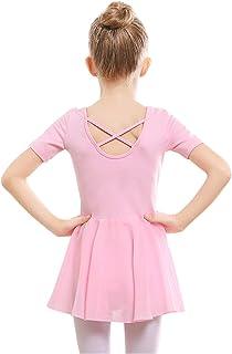 STELLE 女童芭蕾短袖连衣裙紧身连衣裤适合舞蹈、体操和芭蕾舞鞋(幼儿/小女孩/大女孩)