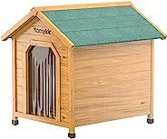 Homykic 户外狗屋木制 宠物杉木狗舍木屋 狗舍 隔热住所 带门盖的凸起地板 适用于猫兔 29.5x36x34 英寸 大号