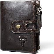 Rfid 保護牛皮信用卡錢包旅行包帶拉鏈鑰匙收納袋