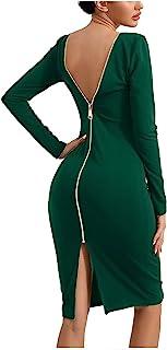 ZAKINUVA 女式性感露背紧身连衣裙开叉下摆长袖铅笔裙拉链紧身中长款晚礼服
