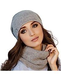 Braxton 女士帽子和围巾套装 - 针织冬季普通无檐小便帽颈保暖 - 羊毛羊毛帽无限围巾