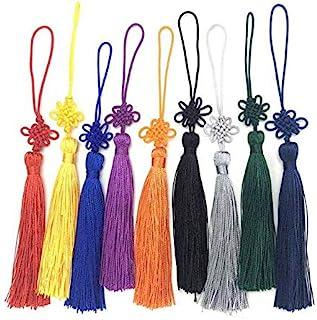 TA BEST 24件手工丝绸中国流苏缎丝绸中国结门和汽车手工装饰,DIY工艺5.3英寸(约15厘米)(混合色)
