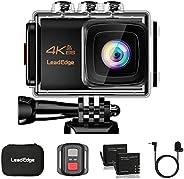 LeadEdge 运动相机 4K EIS 防抖 WiFi 20MP 防水运动相机 水下DV 超高清 4K/30FPS 1080P/60FPS 30M 潜水遥控器 / 外部麦克风/三脚架/便携盒/2 节电池
