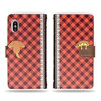 DHOUSE iPhone Xs 钱包式手机壳日本制造的可爱狗和秘密骨手工红色格子钱包手机壳适用于 iPhone X
