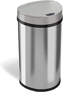 iTouchless Semi-Round Extra-Wide Opening Automatic Sensor Trash Can, Stainless Steel, 13 Gallon / 49 Liter
