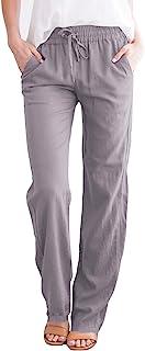 Haellun 女式抽绳亚麻裤弹性腰围宽松夏季长裤