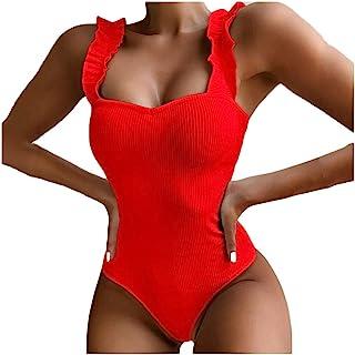 Mlide 连体泳衣女式性感沙滩装套装纯色复古比基尼