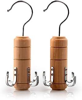 SUNTRADE 木制腰带领带架围巾衣架适用于衣橱,用于腰带领带围巾背心和珠宝(2,4 个挂钩)