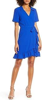 女式 Charles Henry 荷叶边领绉纱裹身裙,尺码 M 号 - 蓝色
