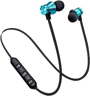 蓝牙耳机运动跑步无线颈带耳机带麦克风立体声音乐-蓝色
