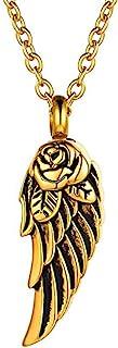 Angel Wings 火葬首饰灰烬吊坠不锈钢纪念项链 适合人类/宠物纪念品男女