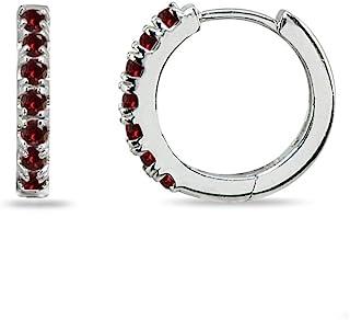 纯银小号 15mm 爪镶真品或合成宝石圆形 Huggie 环状耳环