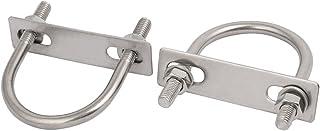 Sourcingmap® 2 件 M8x51mm 304 不锈钢圆形 U 型螺栓带板和六角螺母平垫圈