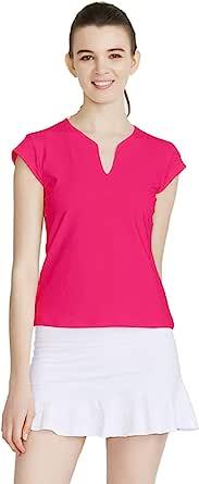 PCGAGA 女式网球衬衫,纯色高尔夫 T 恤 V 领跑步衬衫