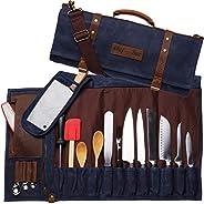 厨师刀打蜡帆布真皮卷包   22 个口袋用于刀具和厨房用具防水材料   行政厨师和烹饪学生的*礼物(蓝色)