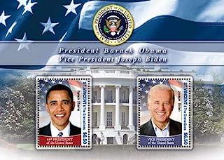 2008 年巴拉克奥巴马总统和副总统乔·比登,2 枚印章的收藏纪念品,薄荷绿*铰链