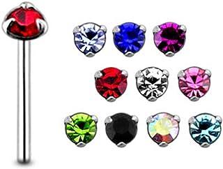 5 件混合颜色宝石三爪爪套装 纯银 22 号直鼻钉