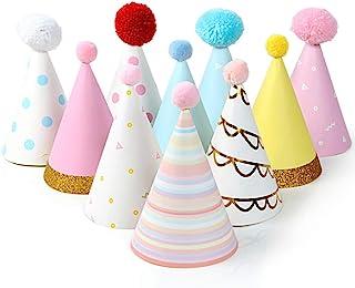 彩色派对帽子 – 10 个圆锥形派对帽子趣味庆祝套装,适合儿童生日派对和 DIY 手工艺品 – 派对用品,适用于团体活动、游戏和装饰
