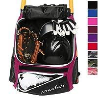 Athletico 棒球球棒包 - 背包棒球、T 型球和垒球设备及装备儿童,青少年成人 | 可放置球棒、头盔、手套、鞋隔层和栅栏钩