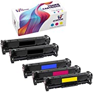 AZ Supplies Toner | 30% more Print Performance | 5-Pack replace for HP 128A, CE320A, CE321A, CE322A, CE323A fo