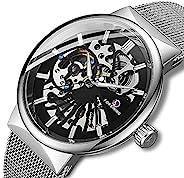 男式机械手表超薄不锈钢手动风手表骨架手表