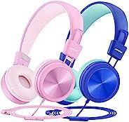 Mpow CH8 儿童耳机 带麦克风 2 件装 有线耳机适用于儿童,音量限制为 91dB ,线上学校耳机带分享分路器 适合男孩女孩儿童上学旅行
