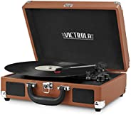 Victrola Vintage 3-Speed Bluetooth Suitcase Turntable with Speakers Cognac