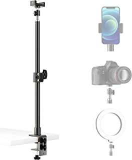 NOSSER 桌面安装支架,16.5-25.8 英寸(约 41.9-65.8 厘米)可调节桌面铝灯支架,带 360° 可旋转球头,桌面 C 夹安装支架,带 1/4 英寸(约 0.6 厘米)螺丝头,用于环形灯、视频灯、数码单反相机