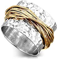 Boho-Magic 925 纯银戒指女士黄铜包裹式广口宣言戒指