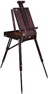 松木画架,大号可调节木制法式风格,带艺术家木调色板,素描支架(黑色)