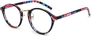 Cyxus 蓝色光滤光计算机眼镜复古圆形遮挡紫外线*小化**改善*训练时尚相框,男女皆宜(男式,女式) 1.00
