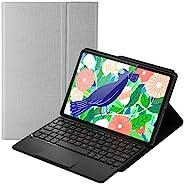 Feitenn Galaxy Tab S7 键盘保护套,触摸板*/唤醒智能平板电脑保护套铅笔插槽支架 PU 帆布外壳支架无线蓝牙键盘适用于 Samsung Galaxy Tab S7 11 英寸 - 灰色