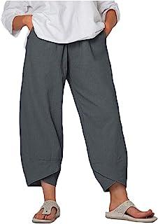 Lghxlxry 女式休闲松紧腰阔腿宽松拼接七分裤休闲裤带口袋