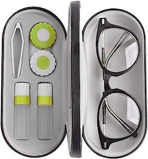 2 合 1 双用便携式眼镜盒套装,兼容隐形眼镜和眼镜盒
