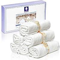 婴儿浴巾 - 有机竹,奢华 2 层毛巾。 适合Eczema。 适合宝宝淋浴/礼物赠送。 **柔软可重复使用的湿巾。 10.6 英寸(约 26.9 厘米),6 个装。 免费电子书 - SmilingGaia