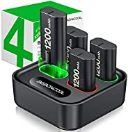 适用于 Xbox One 控制器电池组的充电器,带 4 x 1200 mAh 可充电的 Xbox One 电池充电器充电套件,适用于 Xbox One、Xbox Series X/S、Xbox One X/ S、Xbox