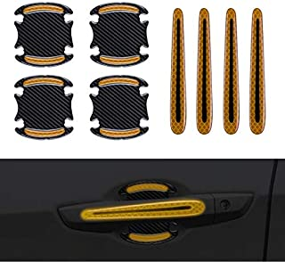 QianBao 兼容汽车外腕门把手反光贴纸通用*反光警告防刮贴纸 8 件(黑-黄色)
