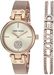 Anne Klein 安妮克莱因 女式施华洛世奇水晶点缀网眼手表和手镯套装 AK/3552