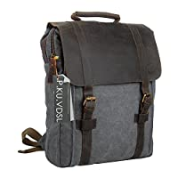 P.KU.VDSL 帆布笔记本电脑背包,AUGUR 系列复古皮革背包,*挎包背包男士女士旅行徒步旅行6820 复古